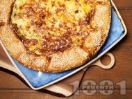 Киш с тиквички, царевица, чушки и сирене крема